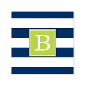 awning stripe navy coaster square paper coaster<br>set of 50
