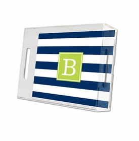 awning stripe navy lucite tray - small