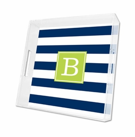 awning stripe navy lucite tray - square