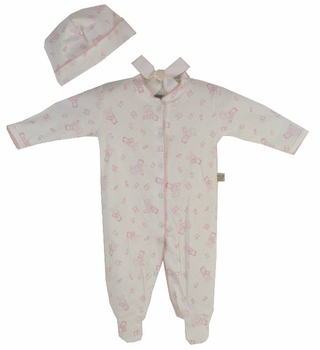 baby girl cotton footie romper set