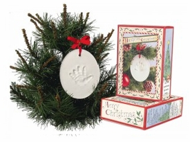 baby hand-print ornament by child to cherish