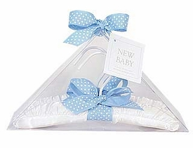 baby hangers - white satin with blue dot ribbon
