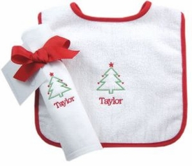 baby's first christmas bib set