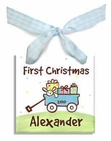 baby's first christmas wagon ornament (boy)