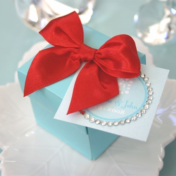 baby shower favor - aqua blue mini cube boxes (set of 12)