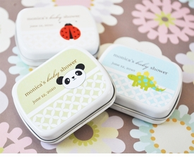 baby shower favor - personalized animal mint tins