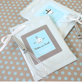baby shower favor personalized hot cocoa + optional heart whisk