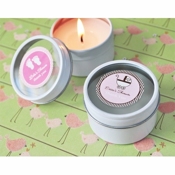 baby shower favor - travel candle tins