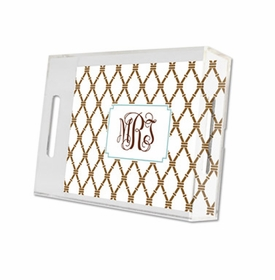 bamboo brown & slate lucite tray - small