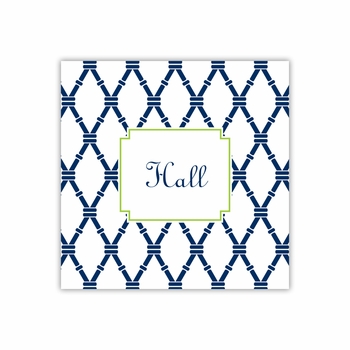 bamboo navy & green square paper coaster<br>set of 50