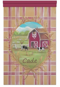 barnyard friends scottish rural plaid personalized wall hanging