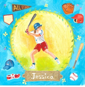 baseball star - girl wall art
