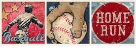 baseball star trio wall art