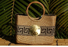 becky cocktail bag with tan greek key