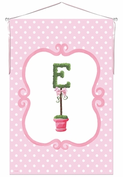 bella topiary initial tickled pink personalized wall hanging