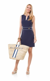 belted for breaking rules navy dress
