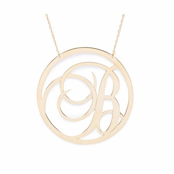 beso metal script single initial necklace
