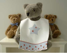 bib - embroidered red star on stripe pique by sweet william