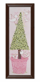 bird topiary wall art - brown frame