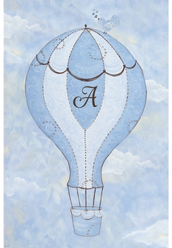 birdie balloon ride II spring sky personalized wall hanging