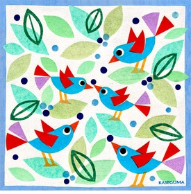 birds and blueberries wall art