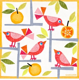 birds and oranges wall art