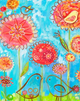 birds and poppies wall art