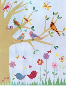 birds in a tree wall art