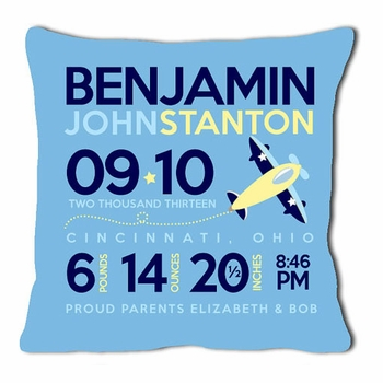 birth announcement new baby airplane pillow (blue)