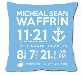 birth announcement new baby anchor pillow (blue)