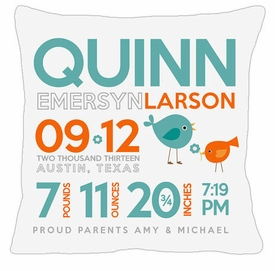 birth announcement new baby birdie pillow (aqua)