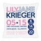 birth announcement new baby circles pillow (girl)
