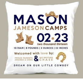 birth announcement new baby cowboy pillow