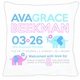 birth announcement new baby elephant pillow (pink)