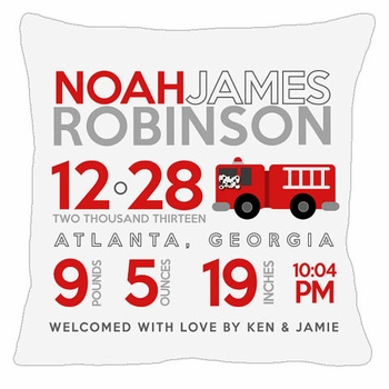 birth announcement new baby firetruck pillow