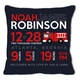 birth announcement new baby firetruck pillow (dark)