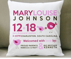 birth announcement new baby gift birdie pillow