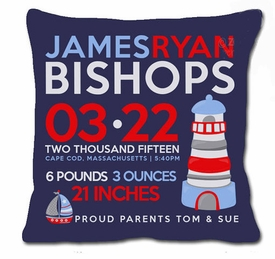 birth announcement new baby lighthouse pillow (dark)