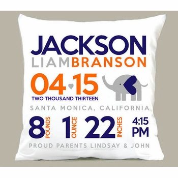 birth announcement new baby mod elephant pillow