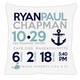 birth announcement new baby nautical pillow