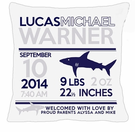 birth announcement new baby shark pillow (white)