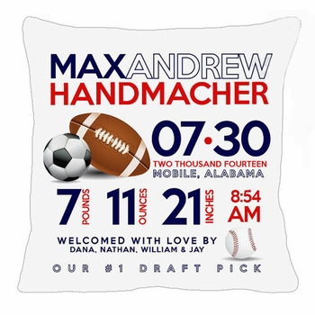 birth announcement new baby sports pillow
