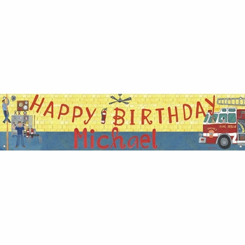birthday banner - firehouse