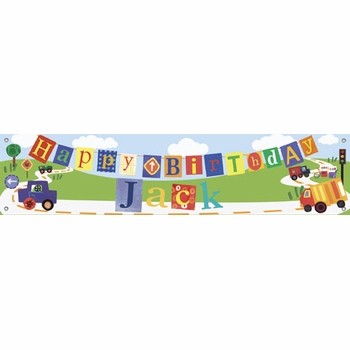 birthday banner - transportation