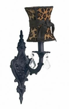 black 1 arm scroll wall sconce