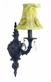 black 1 arm scroll wall sconce-green bouquet shade