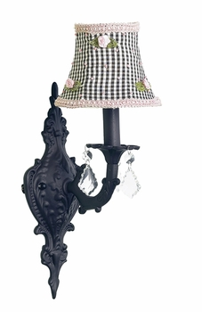 black 1-arm scroll wall sconce w/black check shade