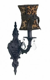 black 1-arm wall sconce w/leopard shade