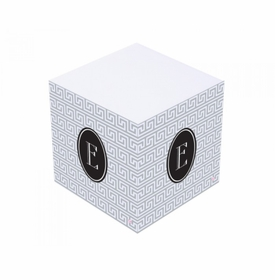 black and gray sticky note cube