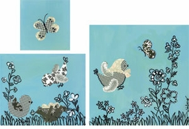 black and white birdies turquoise wall art